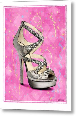 Rhinestone Party Shoe Metal Print