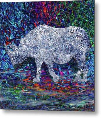 Rhino Glass Work Metal Print by Jack Zulli