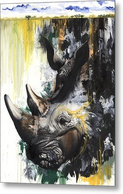 Rhino II Metal Print by Anthony Burks Sr