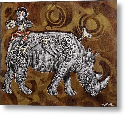 Rhino Mechanics Metal Print