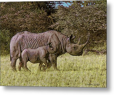 Rhino Mother And Calf Metal Print by Larry Linton