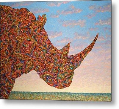 Rhino-shape Metal Print by James W Johnson