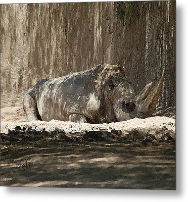 Metal Print featuring the digital art Rhino by Walter Chamberlain