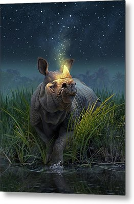 Rhinoceros Unicornis Metal Print by Jerry LoFaro