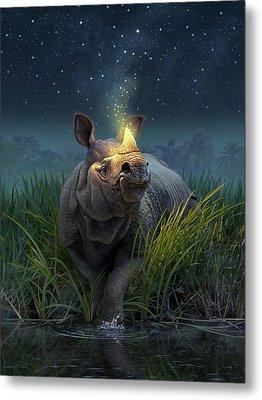 Rhinoceros Unicornis Metal Print