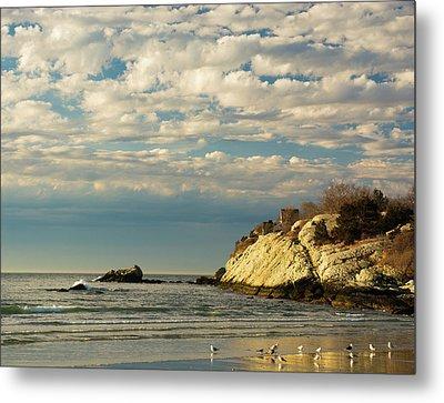 Rhode Island Beach In Winter Metal Print by Nancy De Flon