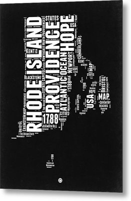 Rhode Island Black And White Map Metal Print