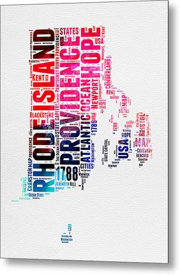 Rhode Island Watercolor Word Cloud Metal Print