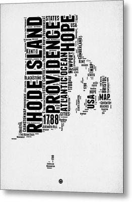 Rhode Island Word Cloud 1 Metal Print by Naxart Studio