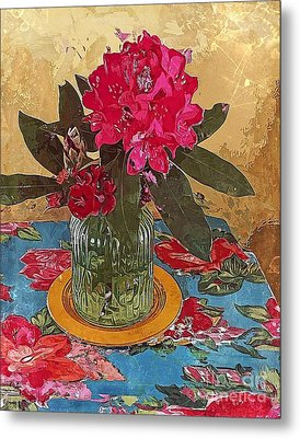 Metal Print featuring the digital art Rhododendron by Alexis Rotella