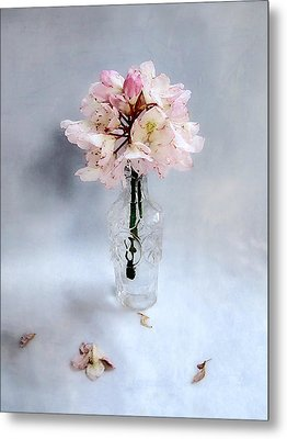 Rhododendron Bloom In A Glass Bottle Metal Print