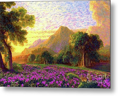 Rhododendrons, Rabbits And Radiant Memories Metal Print