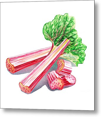 Metal Print featuring the painting Rhubarb Stalks by Irina Sztukowski