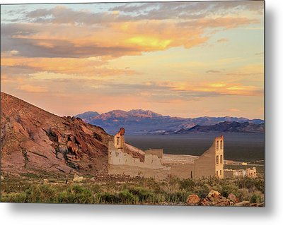 Metal Print featuring the photograph Rhyolite Bank At Sunset by James Eddy