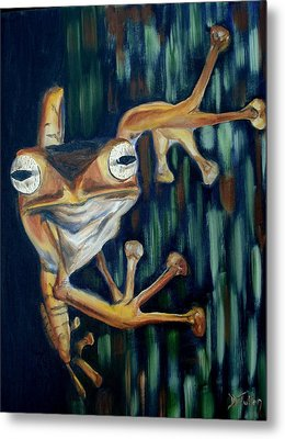 Metal Print featuring the painting Ribbit by Donna Tuten