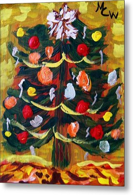 Metal Print featuring the painting Ribbon Garland by Mary Carol Williams