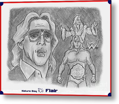Metal Print featuring the drawing Ric Flair -the Nature Boy by Chris  DelVecchio