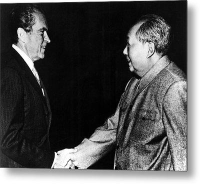 Richard Nixon, Mao Zedong In China, 1972 Metal Print by Everett