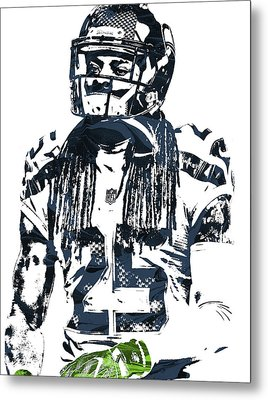 Richard Sherman Seattle Seahawks Pixel Art 4 Metal Print by Joe Hamilton