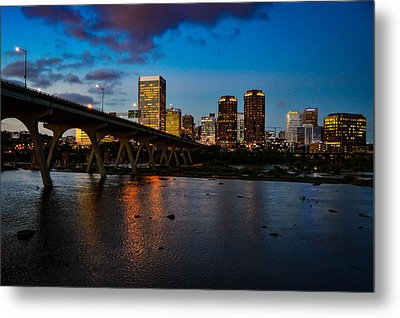 Richmond Skyline At Night Metal Print
