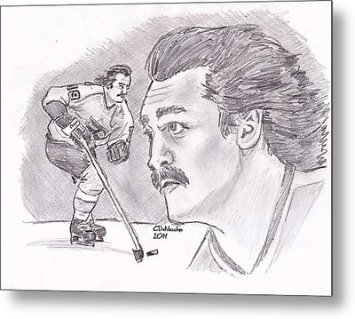 Metal Print featuring the drawing Rick Macleish 50 by Chris  DelVecchio