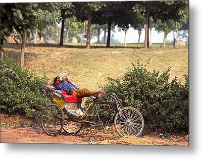 Rickshaw Rider Relaxing Metal Print