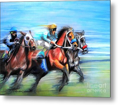 Metal Print featuring the painting Ride Like The Wind by Patricia L Davidson