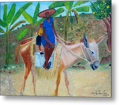 Metal Print featuring the painting Ride To School On Donkey Back by Nicole Jean-Louis