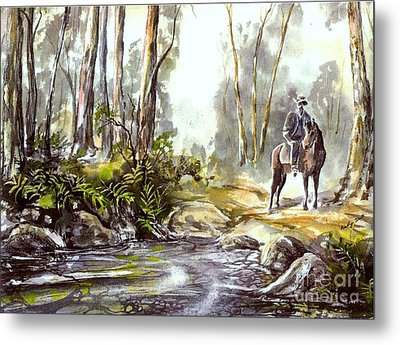 Rider By The Creek Metal Print