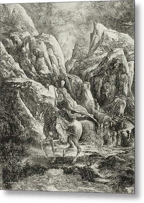 Rider In The Mountains Metal Print by Rodolphe Bresdin