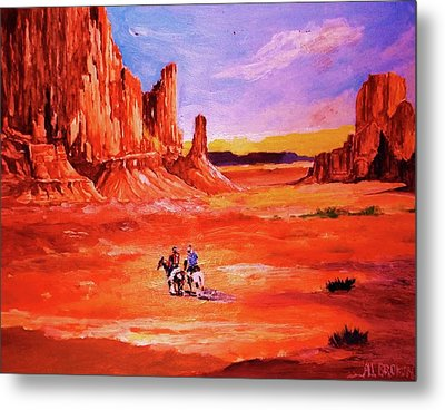 Riders In The Valley Of The Giants Metal Print