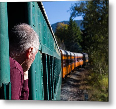 Riding The Train 8x10 Metal Print