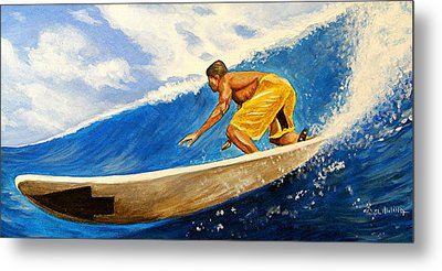 Riding The Wave Metal Print by Al  Molina