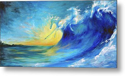 Riding The Waves Metal Print