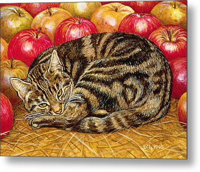 Right Hand Apple Cat Metal Print