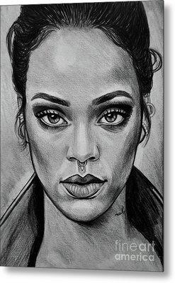 Rihanna Portrait Metal Print by Ornella Di Scala