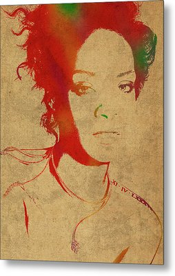 Rihanna Watercolor Portrait Metal Print by Design Turnpike