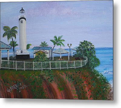 Rincon's Lighthouse Metal Print by Gloria E Barreto-Rodriguez
