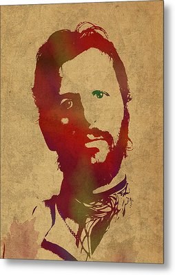 Ringo Starr Beatles Watercolor Portrait Metal Print