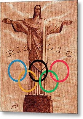 Metal Print featuring the painting Rio 2016 Christ The Redeemer Statue Artwork by Georgeta Blanaru
