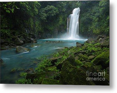 Rio Celeste And Waterfall Metal Print by Juan Carlos Vindas