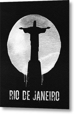 Rio De Janeiro Landmark Black Metal Print by Naxart Studio