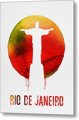 Rio De Janeiro Landmark Red Metal Print by Naxart Studio