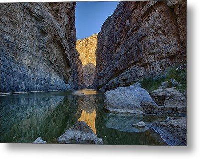 Metal Print featuring the tapestry - textile Rio Grand - Big Bend by Kathy Adams Clark