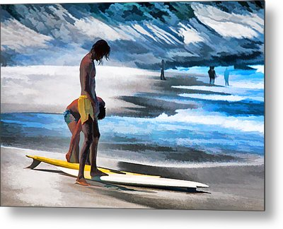Rio Surfers Metal Print by Dennis Cox