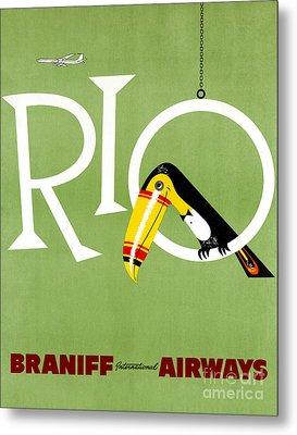Rio Vintage Travel Poster Restored Metal Print