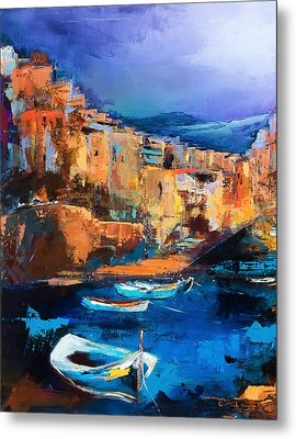 Metal Print featuring the painting Riomaggiore - Cinque Terre by Elise Palmigiani
