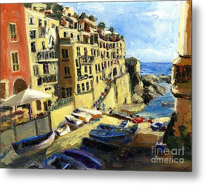 Riomaggiore Italy Late Afternoon Metal Print by Randy Sprout