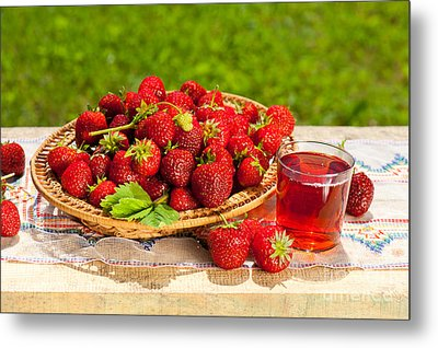 Ripe Strawberries In Basket And Juice In Glass  Metal Print by Arletta Cwalina