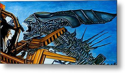 Metal Print featuring the painting Ripley Vs Queen Up Close And Personal by Al  Molina